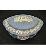 Vintage Blue Wedgwood Jasparware Trinket Box - Made In England - $36.74