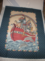 Daisy Kingdom S S Rainbow Quilt Top panel Noah's ark animals  - $21.95