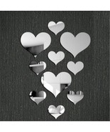 3D Mirror Heart Removable Wall Sticker Art Acrylic Mural Decal Wall Home... - $15.00