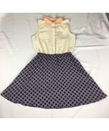 Maison Jules Women's Medium Beige Navy Blue Collared A Line Dress  - $14.83