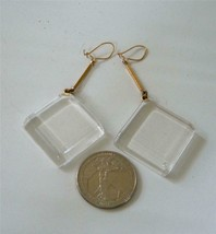 Vintage Clear Lucite Drop Dangle Wire Earrings Square Gold tone  60s 70s... - $29.69