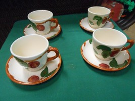 """Great FRANCISCAN """"Apple"""" Set of  4 CUP & SAUCERS...Made in England - $13.57"""