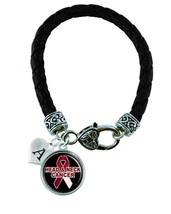 Custom Head Neck Cancer Awareness Ribbon Black Leather Bracelet Jewelry Initial - $13.94