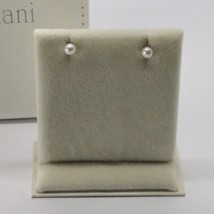 SOLID 18K WHITE GOLD EARRINGS WITH PEARL PEARLS 4 MM MADE IN ITALY BEAUTIFUL BOX image 2