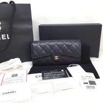 BNIB AUTH CHANEL 2018 BLACK QUILTED CAVIAR LARGE TRI-FOLD WALLET CLUTCH RECEIPT