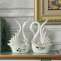 2Pcs/setEuropean Elegant Couple Swans Figurines Ceramic Craft Figurines ... - $47.95