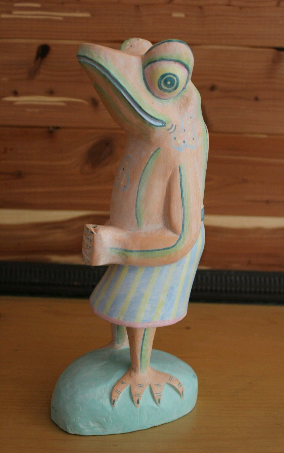 "Frog in Skirt Figurine Wood Hand Carved Hand Painted Bright Colors Pink 12"" Tall"