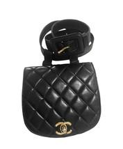Vintage CHANEL oval shape 2.55 black fanny pack, belt bag with round fla... - $2,520.00