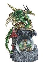 "8"" Green Dragon & Hatching Egg Snow Globe Fantasy Decor Statue Figure Figurine - $39.00"