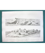 ARCHITECTURE (3) PRINTS 1850 - ITALY Etruscan Tombs at Viterbo Castel D'... - $17.99