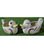 Duck Creamers Set of 2 Vintage Pitcher Ducklings White Yellow Brown Ceramic - $11.88