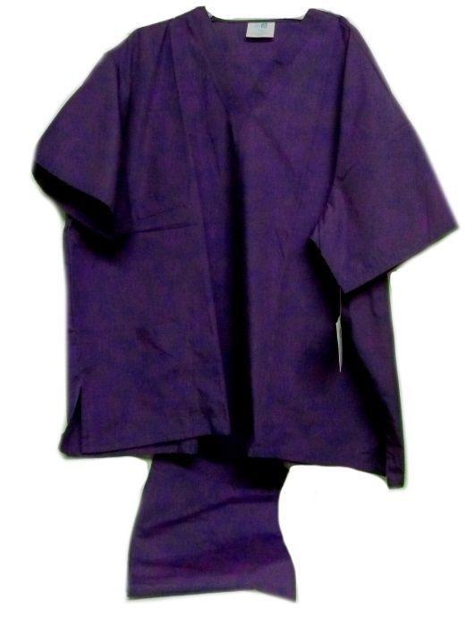 Purple Scrub Set  V Neck Top Drawstring Pants 3XL Unisex Uniforms 2 Piece New - $35.25