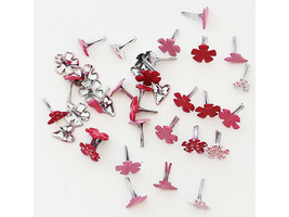 Mini Heart and Flower Brads, 36 Count