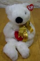 TY ROMEO WHITE TEDDY BEAR W/ HEART I LOVE YOU 14 inch Stuffed Animal NEW - $15.35