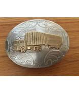 1940's - 1950's Nickel Silver Gold Tone Semi Wheeler Truck Belt Buckle - $23.35