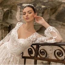 Gorgeous Designer Customized Appliqued A-Line Long Sleeve Vintage Wedding Dress image 3