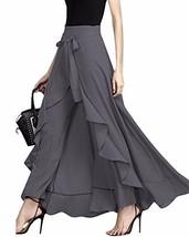 GIKING Women Ruffle Pants Full Length Split High Waist Retro Maxi Long S... - $37.13