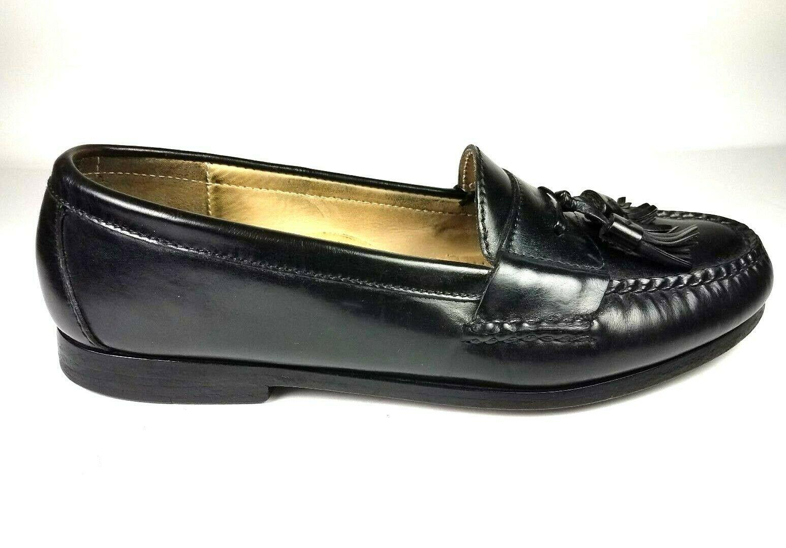 COLE HAAN Men's Loafers 9 D Leather Black Pinch Tassel Slip On Dress Shoes