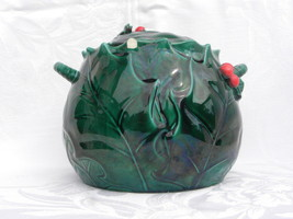 Vintage Lefton Christmas Green Holly and Berry Covered Cookie Jar #1359 - $6.99