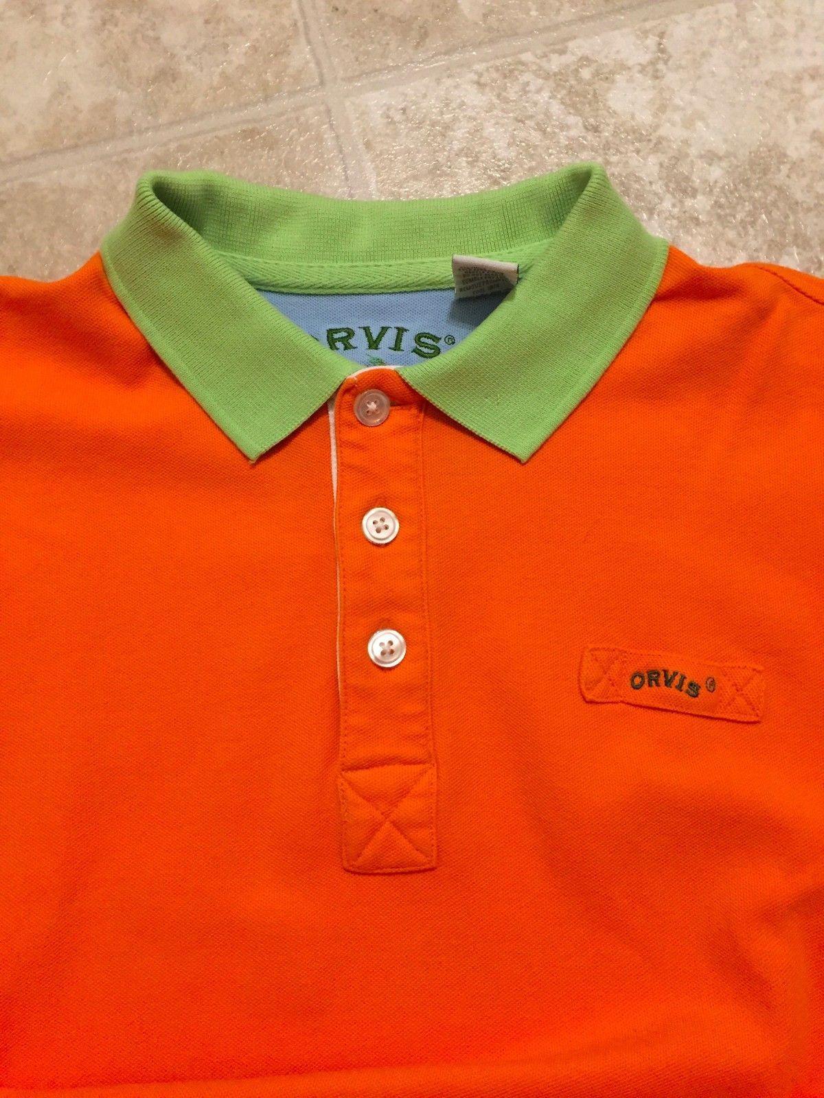 104149ba49b Orvis Mens Button Front Short Sleeve Polo Shirt Embroidered Logo Size Medium