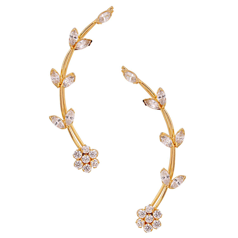 Efulgenz Pack of Cubic Zirconia Cubic Zirconia Stone Cuff Earrings for women