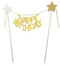 "Set of 4 Cake Toppers, ""Happy Birthday"" Cake Decor [Yellow] - $12.93"
