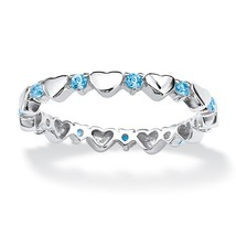 Birthstone .925 Silver Eternity Heart Ring-March-Simulated Aquamarine - €24,86 EUR