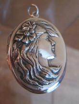 Art Nouveau Locket, Romantic Woman Portrait Pendant Necklace, Sterling - $84.15