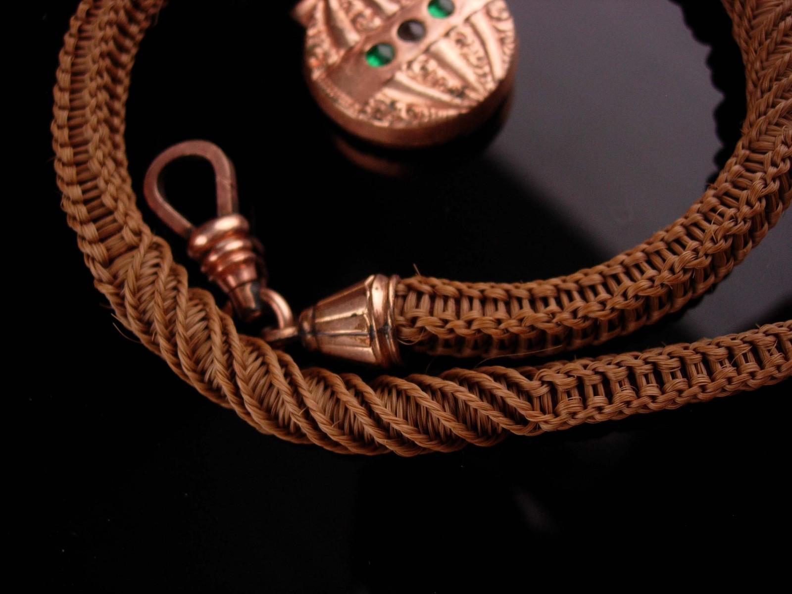 Antique Watch chain - Vintage Victorian Woven Hair - hot air balloon fob