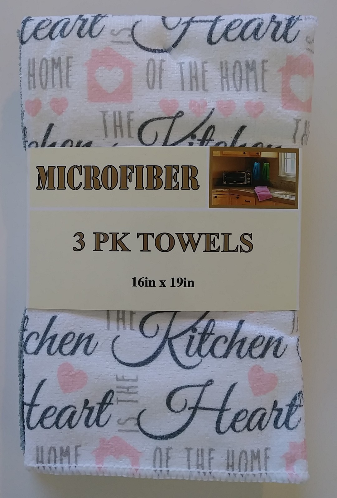INSPIRATIONS KITCHEN TOWEL SET of 5 Dish Towels Pink Grey Heart of the Home