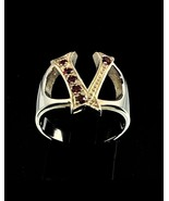 Sterling silver initial V ring with 6 Sparkling Red CZ stones high polis... - $56.00