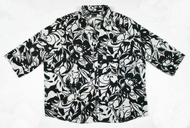 CLUB Z COLLECTIONS WOMENS SIZE 2X BLACK FLORAL TOP BLOUSE BUTTON FRONT S... - $14.84