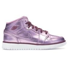 Air Jordan 1 Mid SE Pink Rise White Noble Grade School Sneakers AV5174 640 - $89.95