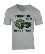 CHURCHILL MK III - NEW COTTON GREY V-NECK TSHIRT - $19.15