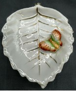 Vintage White with Gold Leaf Shaped Dish with 3-D Butterfly-Occupied Japan - $10.88