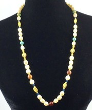 LIZ CLAIBORNE signed LCI Faux Pearl Gold Tone Multicolor Bead Designer Necklace - $14.97