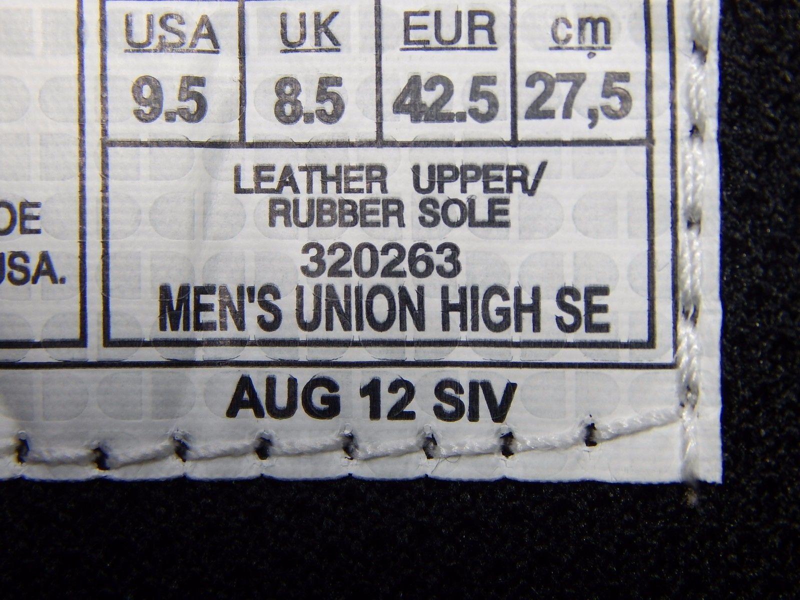 DC Union High Top SE Leather Men's Skate Shoes Size US 9.5 M (D) EU 42.5 Green