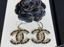 NEW AUTH Chanel 2020 LARGE CC Gold Crystal Black Lambskin Drop Dangle Earrings  image 2