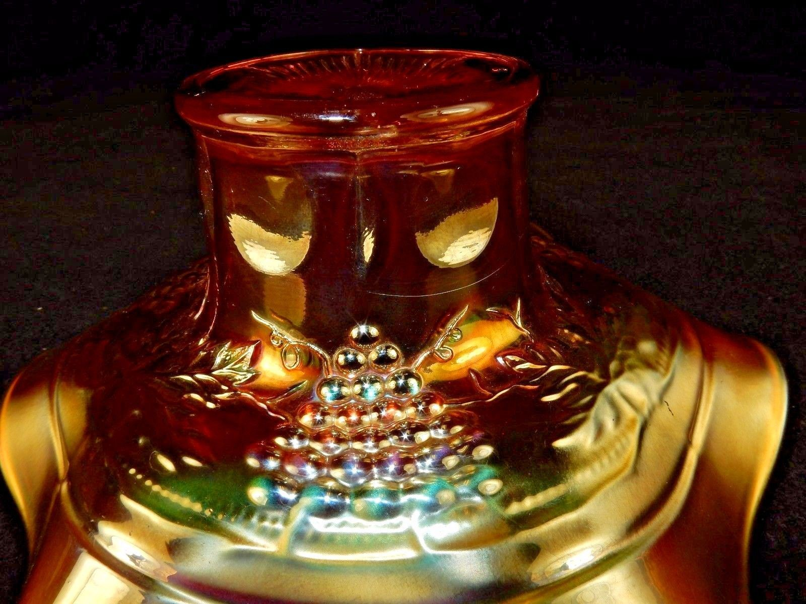 Northwood Carnival Glass Hat Vase ~ Iridescent Amber ~ Bouquet, Potpourri, Candy