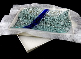 Murano Art Deco Glass Dish, Silver & Blue Rectangle Pebble Tray, Gift Bo... - $7.79
