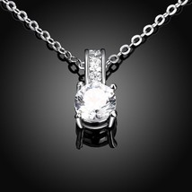 "3 TCW Round Cubic Zirconia 14k Gold-Plated Solitaire Pendant Necklace 18"" - $12.73"