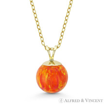 Orange & Red Fire Opal Ball Solitaire Pendant Chain Necklace in 14k Yell... - $38.60+