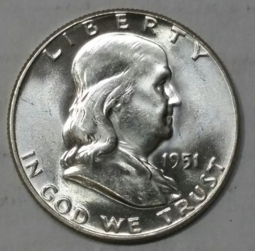 1951 Franklin FBL Silver Half Dollar Coin Lot# E 52