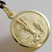 SOLID 18K YELLOW GOLD OUR MARY LADY OF THE GUARD 17 MM ROUND MEDAL MADE IN ITALY image 2
