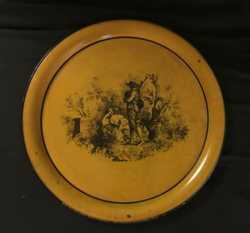 "Vintage Neiman Marcus Metal Round Serving Tray Platter Italy 17"" Orange Rustic"