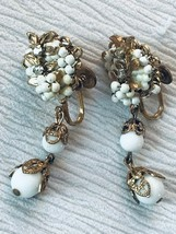 Vintage Very Detailed White Beaded Apple with Two Bead Dangle Goldtone S... - $8.59