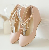Girls Blush Crystals Ankle Straps Wedding Wedges Shoes/Pink Bridal Wedges Shoes - $38.00+