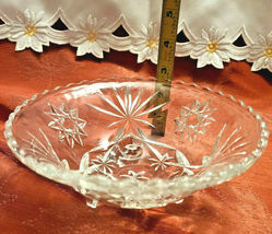 "Vintage Starburst Three Legged Pressed Glass Candy Condiment Bowl 7"" Diameter image 3"