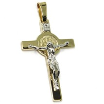 14K YELLOW WHITE GOLD BIG CROSS WITH JESUS & SAINT BENEDICT MEDAL MADE IN ITALY image 2