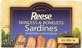 Reese Skinless and Boneless Sardines in Water,  4.38-Ounces Pack of 10